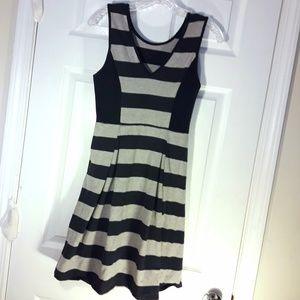 🌷 Cotton Tank Dress Stripes Navy Grey Zipper S